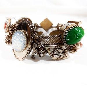 VTG Victorian Silver Mesh Slide Charm Bracele